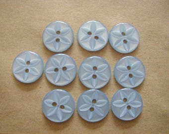 10 Round Blue Star Buttons 16mm