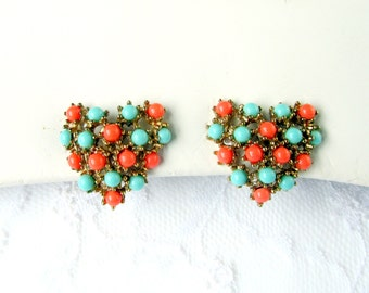 Earrings Turquoise Coral Seed Bead Prong Set Heart Design On Gold Tone Metal Minimalist Vintage Collectible Gift Item 2163