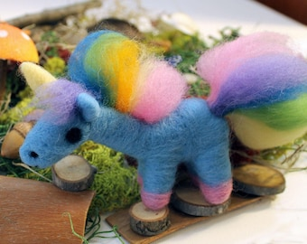 Needle Felted Rainbow Unicorn Soft Sculpture Figurine - Felt Unicorn Figure Art - Ready to Ship
