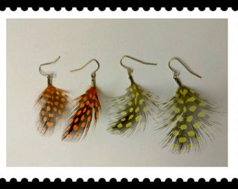 Yellow Orange Earring Lot, Feather Earrings, Polk-a-Dot Earrings, Dangle Earrings, Vintage Earrings, Accessories, Boutique, Fashion Jewelry