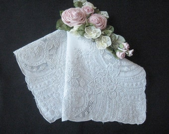 Vintage Swiss Appenzell  Embroidered Wedding Handkerchief / Hanky - Bridal Accessory