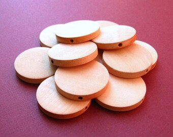 30mm Unfinished Wooden Disc Beads - 12 Pieces - Flat Round Natural Wood Beads Pendant Beads, Lead Free (WBD0143)