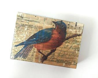 Blue Bird Artwork, Blue Bird Mixed Media Collage, Bird Collage Art