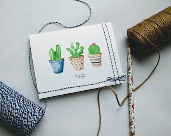 """Watercolor Cactus """"Hugs"""" Greeting Card"""