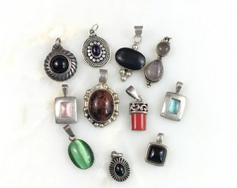 Vintage Sterling Mexican Southwest Onyx Gemstone Pendant lot