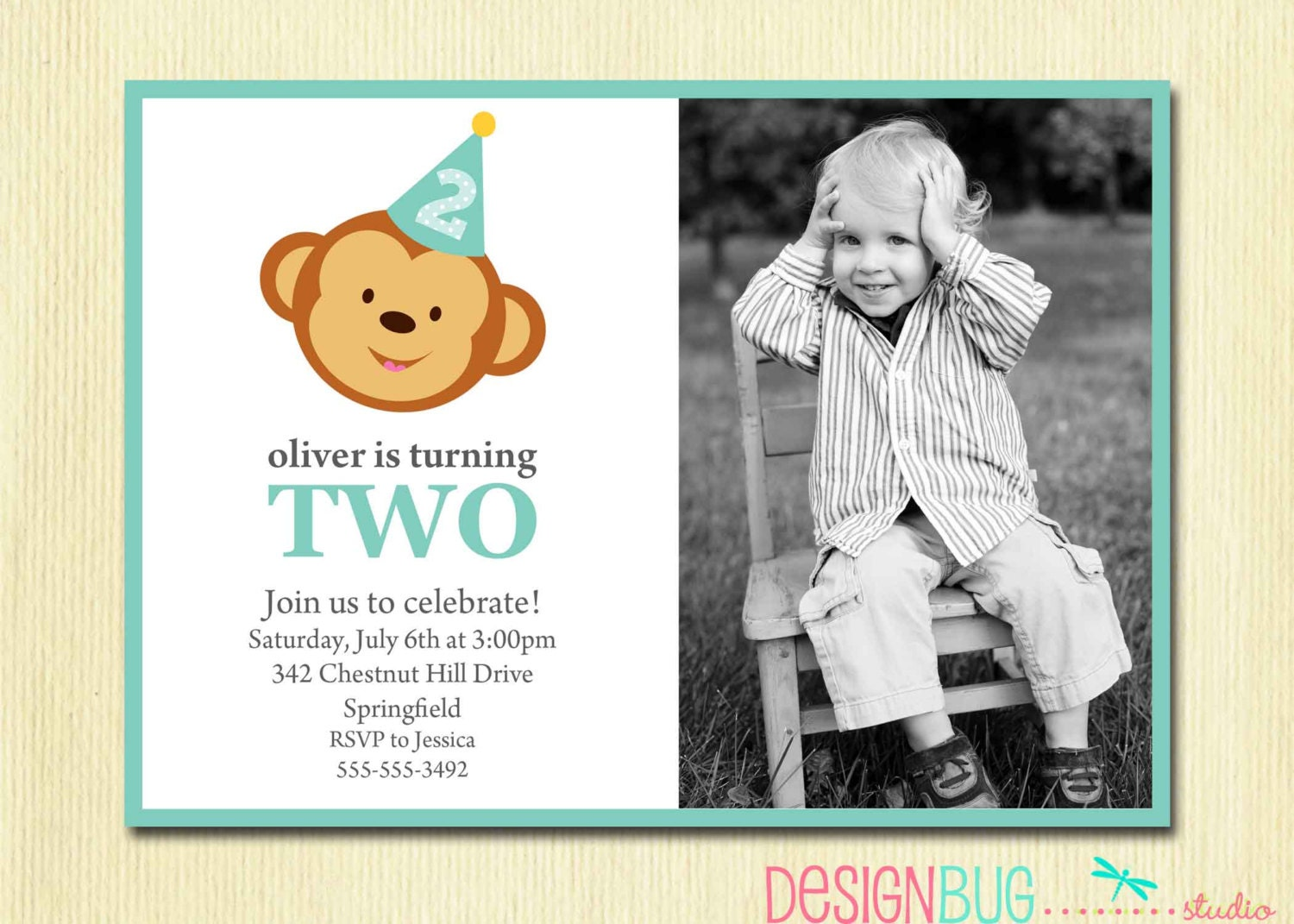 Boy\'s Birthday Monkey Invitation Baby Boy First