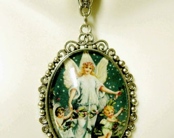 Angel with children pendant and chain - AP09-248