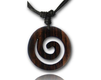 Wooden necklace, black necklace made of cotton with a spiral-shaped Brown wood trailer from Sonoholz, hand-carved, 4 cm Ø (KH-33)