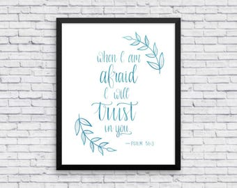 psalm 56 3 wall art religious art print religious wall art bible verse - Psalm 56 3 Coloring Page
