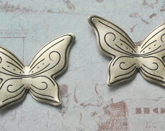 SALE! TWO Art Deco Butterfly Stampings, Brass Ox- Supplies by Calliopes Attic