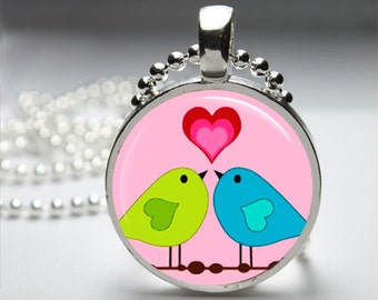 Valentine Love Birds Round Pendant Necklace with Silver Ball or Snake Chain Necklace or Key Ring