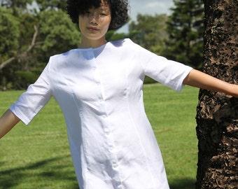 White Linen Dress,Linen Tunic,Linen Midi Dress,Shirt Dress,Women Linen clothing,White Dress Women,Button Up Dress,Button down dress,handmade