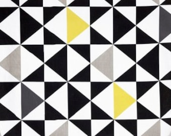 Curtain panel white black grey yellow triangles Modern Decor Cafe curtain Kitchen valance , pillow , runner , napkins available, great GIFT
