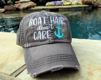 Women's boat hair don't care baseball cap, boat hair don't care baseball cap, boat hair don't care hat, lake hair don't care baseball cap