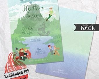 Disney Peter Pan & Lost Boys Neverland Baby Shower Invitation