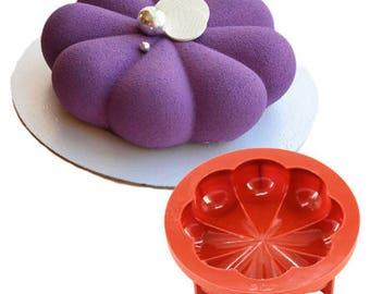 Petal Flower Silicone Mousse Cake Mold - JSC2395R - Baking Fondant Candy Royal Icing Ice Soap