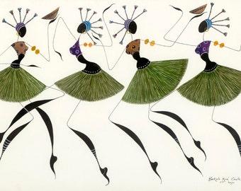 "African Dancers BIKUTSI 12 in a Set of 5 5""x7""(12.5cmx18cm) Blank African Greeting Cards, African Women Traditional Dance Greeting Card"