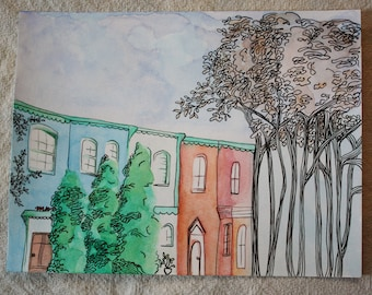 Small Watercolor Painting of Colorful Row Houses in the City - a painting of homes in Georgetown, Washington DC