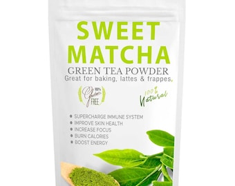 Sweet Matcha Green Tea Powder Mix Made with 100% Organic Matcha- Perfect for Latte & Frappe- Energy Boost- FREE 1-3 Day USA Shipping