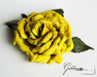 LEATHER flower  ROSE yellow    pin brooch hair hat clip fascinator, Wedding anniversary gift, millinery