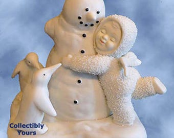 New Snowbabies All We NEED IS LOVE, Snowbaby With Snowman Penguins, 68860,  Department 56,  bisque porcelain,  Never Displayed, Original Box