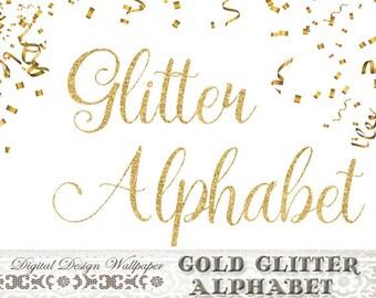 Gold Fancy Glitter Alphabet,Gold Glitter Letters,Cursive Font Glitter Numbers,Glitter Clip Art,Sparkle Letters,Gold Sparkle Alphabet