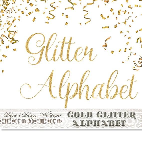 Gold Fancy Glitter AlphabetGold Glitter LettersCursive Font