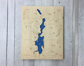 Priest Lake Wooden Map - Large