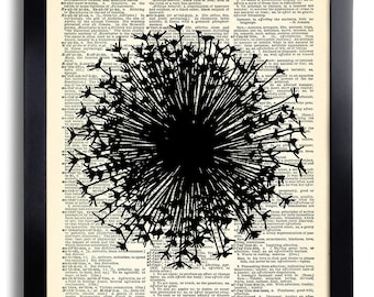 Dandelion Flower Art Print Vintage Book Print Recycled Vintage Dictionary Page Collage Repurposed Book Upcycled Dictionary 052