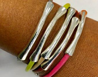 Thin Silver Leather Bangle, Stacking Bangle, Leather Tube Bangle, Layering Bracelet, Gift for Her, Stacking Bracelet Magnetic Bracelet