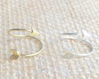 Arrow wrap ring, arrow ring, adjustable arrow ring, gold or silver
