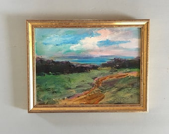 Landscape Painting- Path to the Right - Framed- Small Painting - Original 7-1/4 x 9-1/2  approx. inch- Fine Art