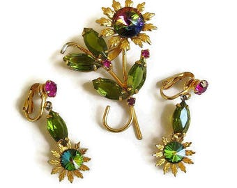 Hot Pink and Green Watermelon Rivoli Crystal Rhinestone Brooch and Earrings Set Vintage Flowers