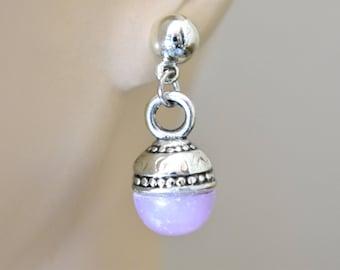 "Vintage 80s Ornate Beaded Dangle Hook Earrings Silver Tone Purple Boho Retro Costume Jewelry 1.25"""