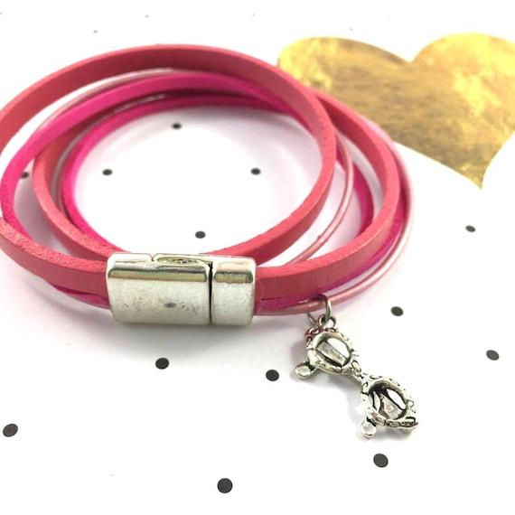 Leather, magnetic, magnet, bracelet, pink, glasses charm, choker necklace, magnet, les perles rares