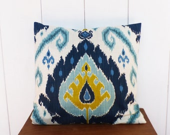 Cushion cover 45 x 45 cm fabric turquopise IKAT pattern, teal, lime, ecru - home decor