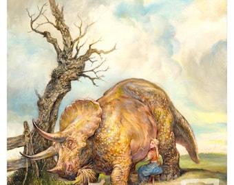 Milking the Triceratops (print) - artwork, milkmaid, dinosaur, art, farm, cat, cow, animals, humor