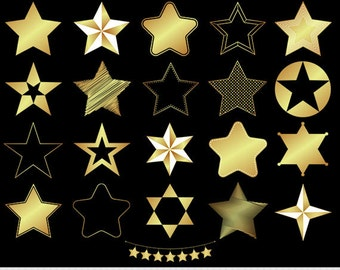 Gold Stars Clipart Foil Stars Clip Art Star Silhouette Clipart Digital Stars Scrapbooking Star Bunting Sheriff Star Icons Invitations Logo