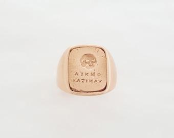 "Georgian Style Custom Signet Ring - ""Omnia Vanitas"" (All is Vanity) and Skull Wax Seal Signet Ring - Memento Mori - Mourning Jewelry"