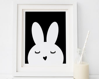 SALE Scandinavian art, SWEET BUNNY, nursery decor, wall art, Illustration, nursery printable, black and white nursery art, kids room art, B