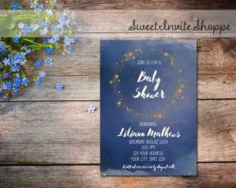 Navy Blue And Gold Stars Baby Shower Invitation, Twinkle Twinkle Little Star Invitation, Glitter Stars Baby Shower, Starry Night Invitation