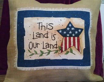 """Americana 16""""x16"""" This Land is Our Land! Natural Burlap Pillow Cover"""
