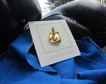 Gold Boxing Gloves Lapel Pin- Boxing, Boxer, Fighting, Fight Night Pins, Gym Pins
