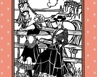Folkwear Western, Rodeo Cowgirl Skirt w/Hip Yoke Sewing Pattern #243 Sizes XS-2XL