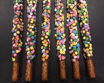 Chocolate Dipped Pretzels w/Confetti Sprinkles
