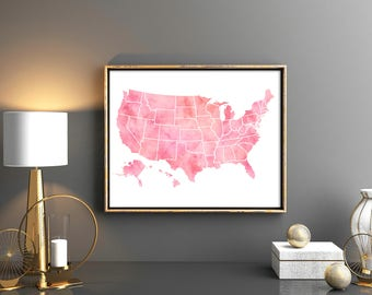 pink united states map 50 states all states usa map large us map poster watercolor map of united states usa map poster map wall art poster