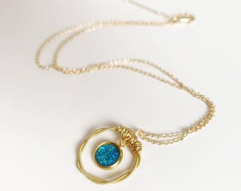 Gold Guitar String Circle Pendant Necklace, Guitar String Jewelry, Blue Faux Druzy Necklace, Gold Chain Necklace, Gift for Her