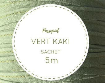 5 m cotton piping - Green Khaki bag