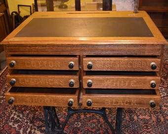 Are Antique Refinished 6 Drawer Country Store Spool Cabinet Sewing Table  Desk