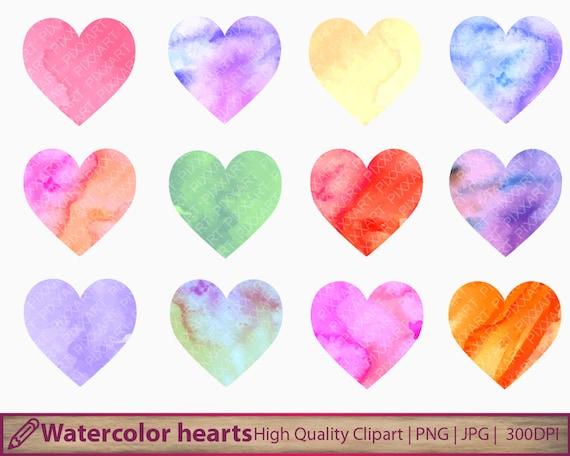 Watercolor hearts clipart love clip art romantic graphics